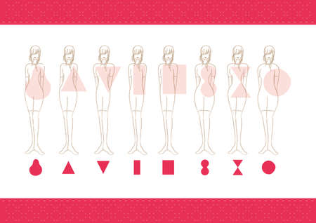 diamond shape: women body types Illustration