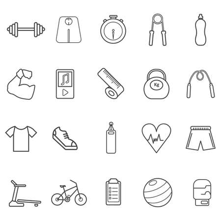 weightlifting gloves: set of fitness icons
