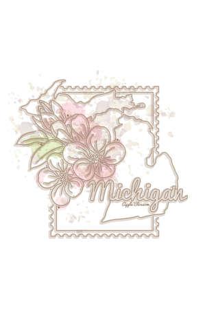 michigan: michigan map with flower Illustration