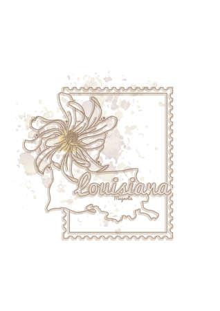 louisiana: louisiana map with flower