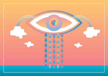 rainbow: eye with tears and rainbow
