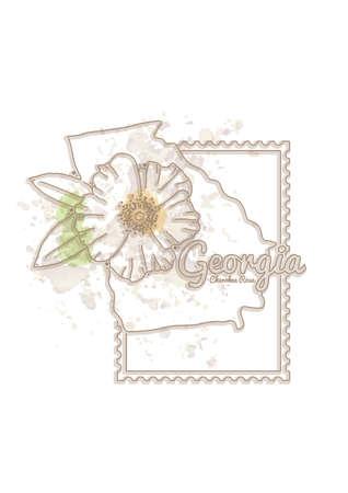 cherokee: georgia map with flower