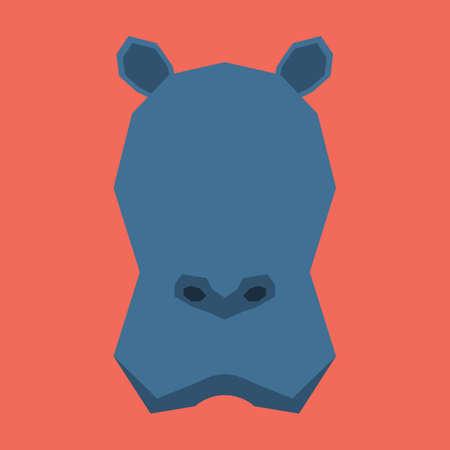 cut outs: silhouette of hippopotamus face