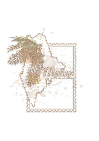 maine: maine map with flower