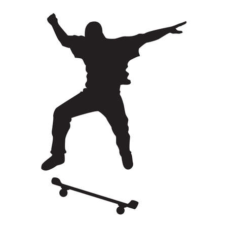 leaping: silhouette of man with skateboard