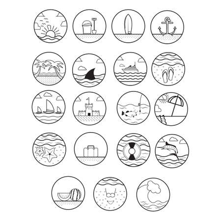 watermelon boat: set of summer beach icons