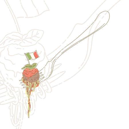 basil leaf: spaghetti on fork