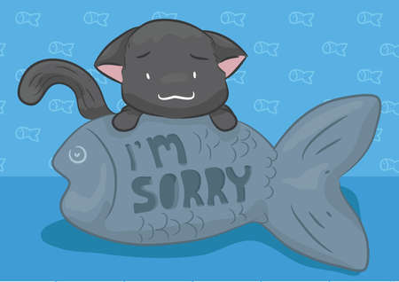 i am sorry: sorry cat with a fish