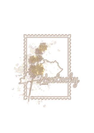 kentucky: kentucky map with flower Illustration