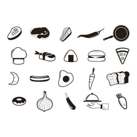 dog salmon: assorted food items Illustration