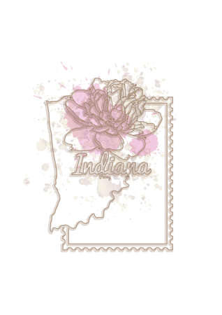 indiana: indiana map with flower