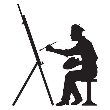 artist's canvas: silhouette of artist with canvas board