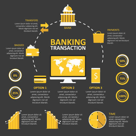 bagged: infographic of banking transaction Illustration