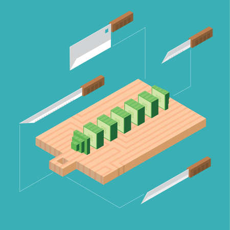 cucumber: knives cutting cucumber Illustration