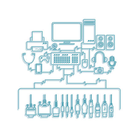 peripheral: computer components with peripheral devices Illustration