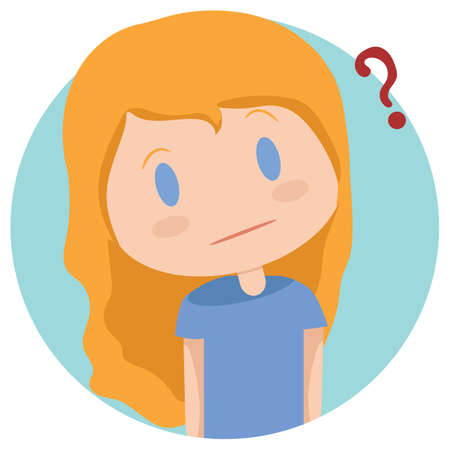 contemplate: girl with question mark
