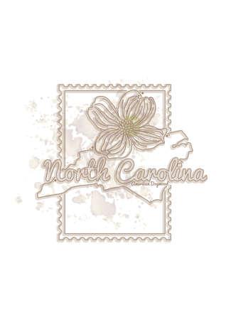 north carolina: north carolina map with flower