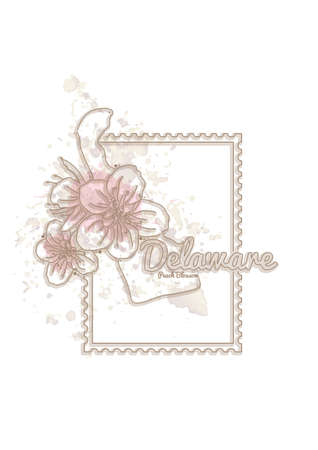 peach blossom: delaware map with flower