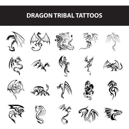 dragon tribal tattoos Stock Illustratie