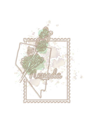 nevada: nevada map with flower