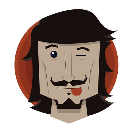 mischievous: man winking and sticking his tongue out Illustration
