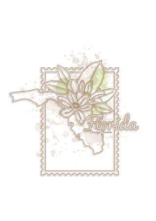 orange blossom: florida map with flower