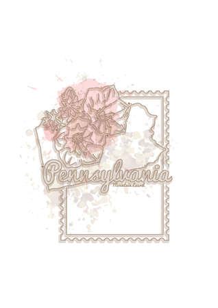 pennsylvania: pennsylvania map with flower
