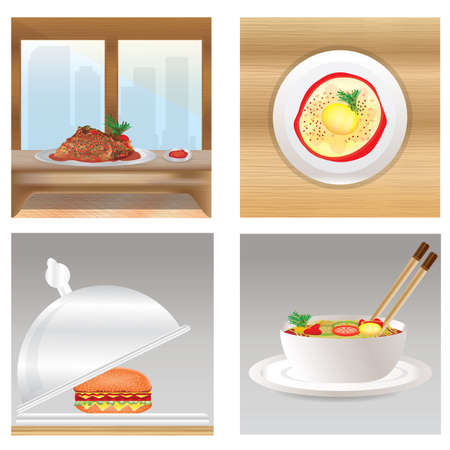 dishes: restaurant dishes Illustration