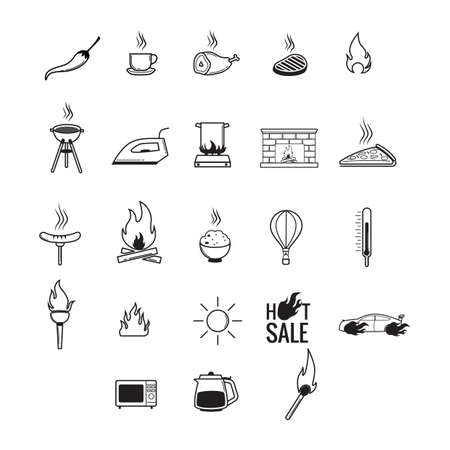 gas fireplace: set of assorted icons Illustration