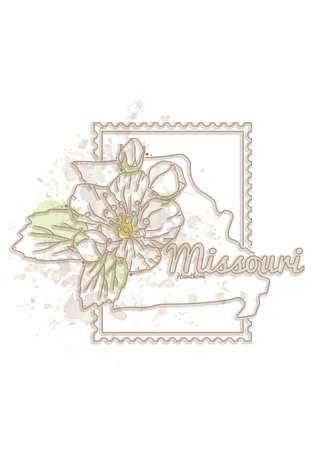missouri: missouri map with flower