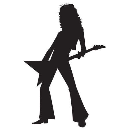 rockstar: silhouette of a rockstar playing guitar