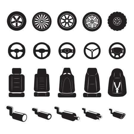 auto's apparatuur set Stock Illustratie