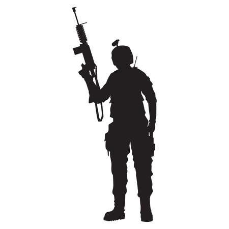 man holding gun: silhouette of army man holding gun
