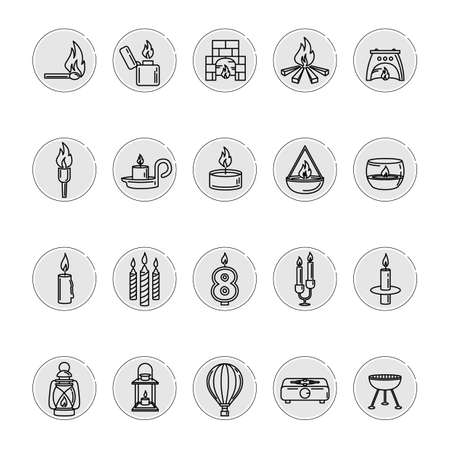 fireplace lighter: set of assorted icons Illustration
