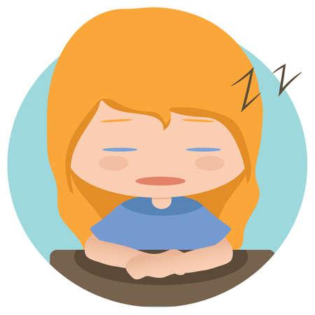 zzz: girl sleeping Illustration