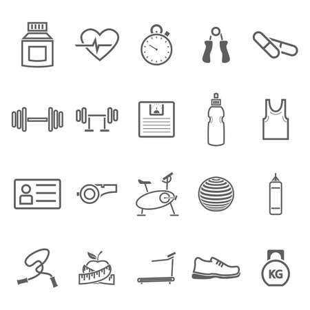weight machine: set of fitness icons