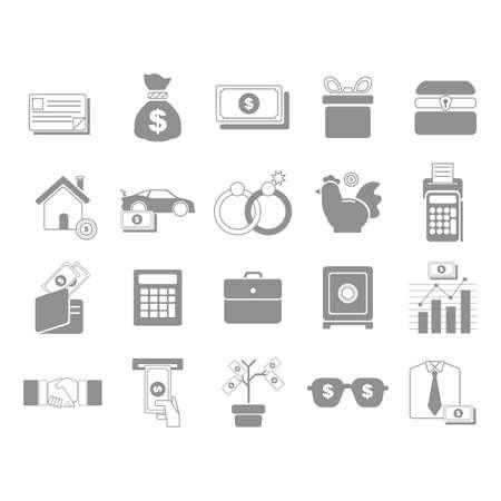 car bills: money icons