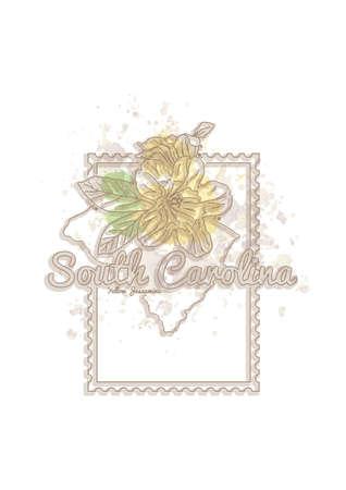 carolina: south carolina map with flower Illustration
