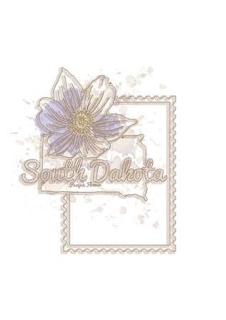 south dakota: south dakota map with flower