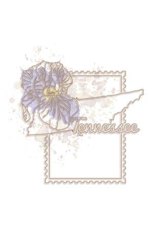 tennessee: Mapa de Tennessee con la flor
