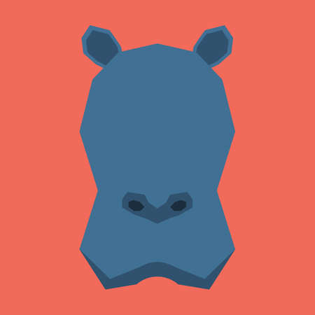 cut outs: silhouette of hippopotamus face