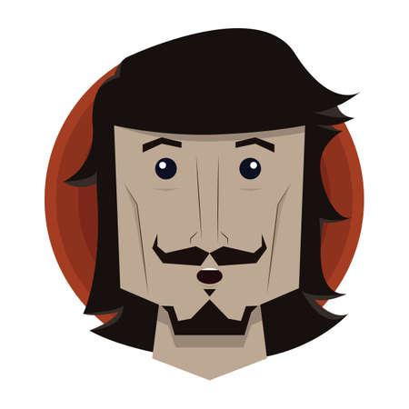 astonish: man with shocked expression Illustration