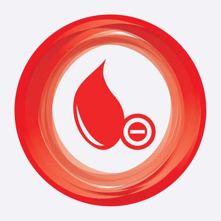 hemoglobin: blood drop with minus sign Illustration