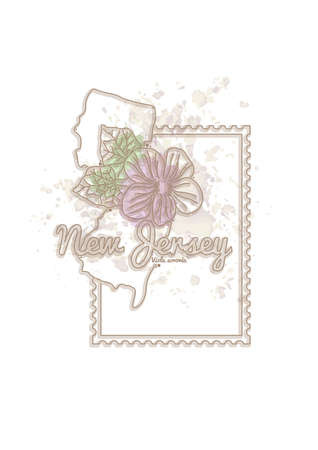 new jersey: new jersey map with flower