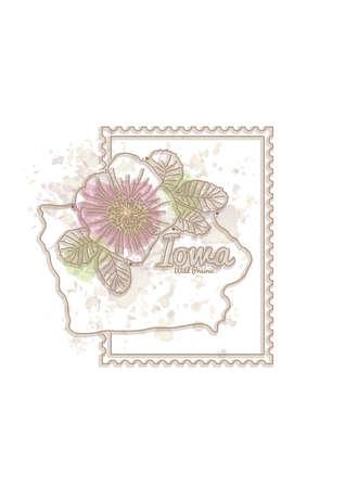 prairie: iowa map with flower Illustration