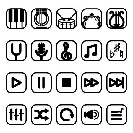 bass player: musical instruments and media player icons
