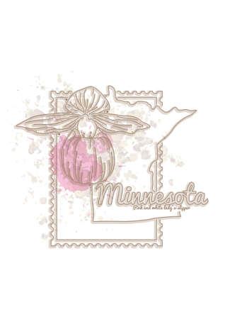 minnesota: minnesota map with flower