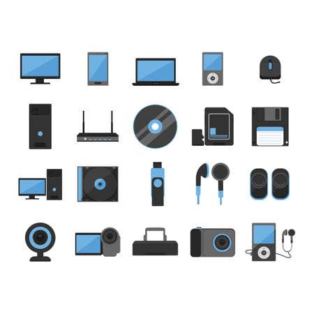 iconos del ordenador fijaron Ilustración de vector