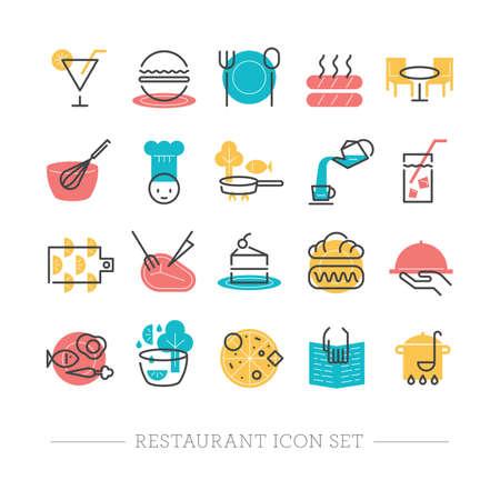 steak plate: restaurant icons Illustration