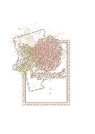 red clover: vermont map with flower Illustration